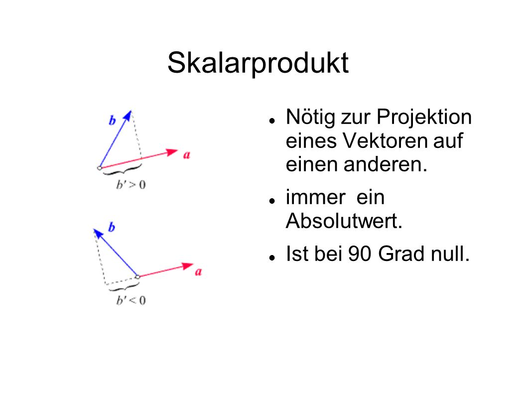 Skalarprodukt Nötig zur Projektion eines Vektoren auf einen anderen.