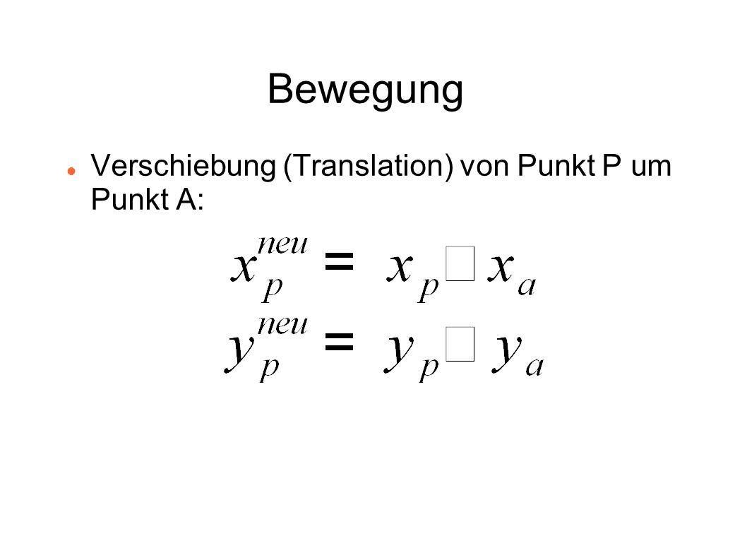 Bewegung Verschiebung (Translation) von Punkt P um Punkt A: