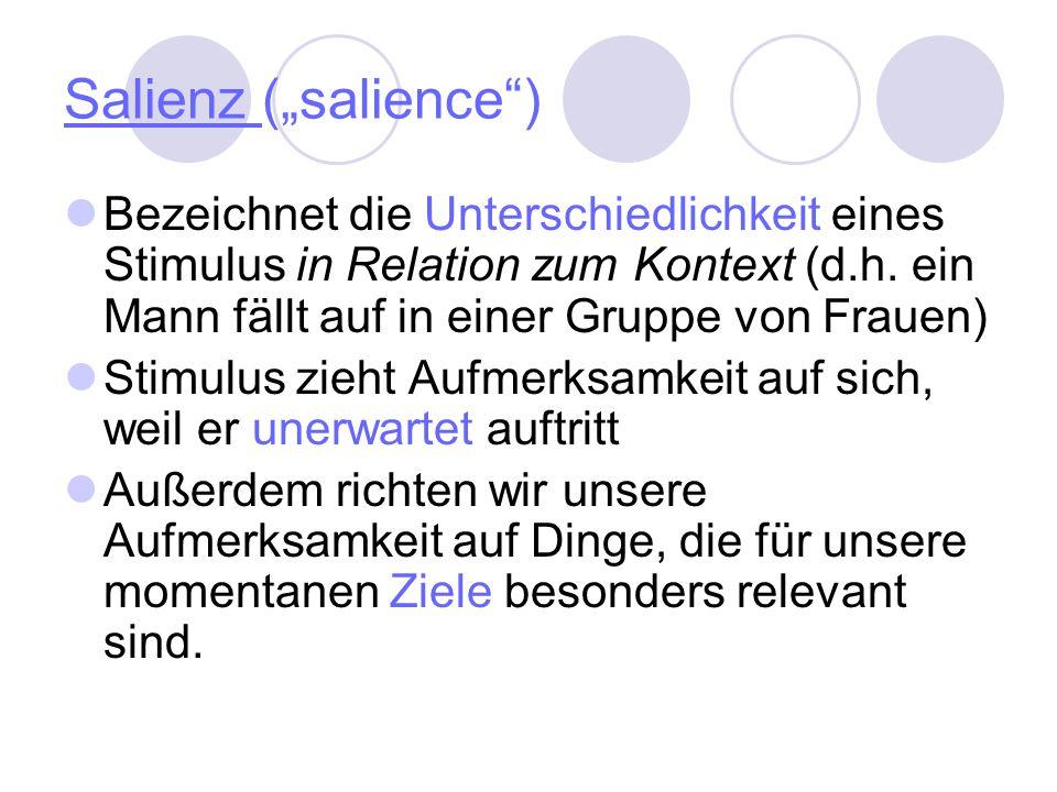 """Salienz (""""salience ) Bezeichnet die Unterschiedlichkeit eines Stimulus in Relation zum Kontext (d.h. ein Mann fällt auf in einer Gruppe von Frauen)"""
