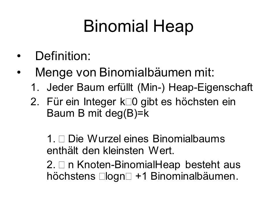 Binomial Heap Definition: Menge von Binomialbäumen mit: