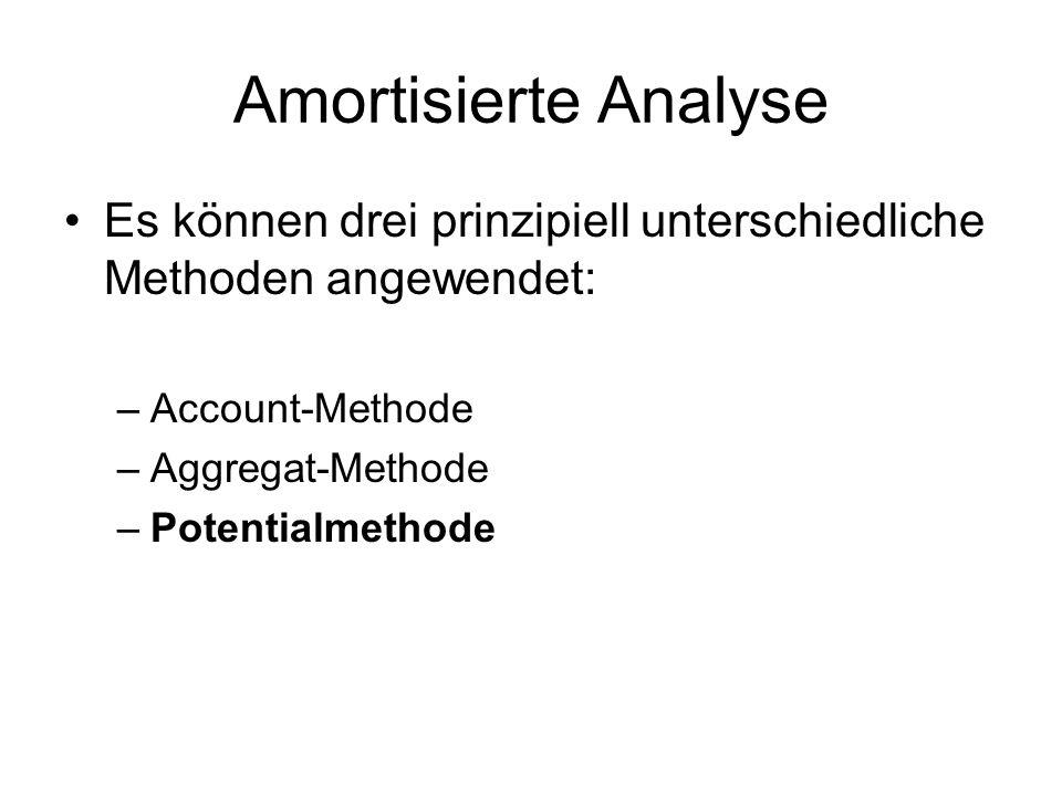 Amortisierte Analyse Es können drei prinzipiell unterschiedliche Methoden angewendet: Account-Methode.
