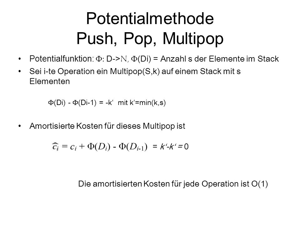 Potentialmethode Push, Pop, Multipop