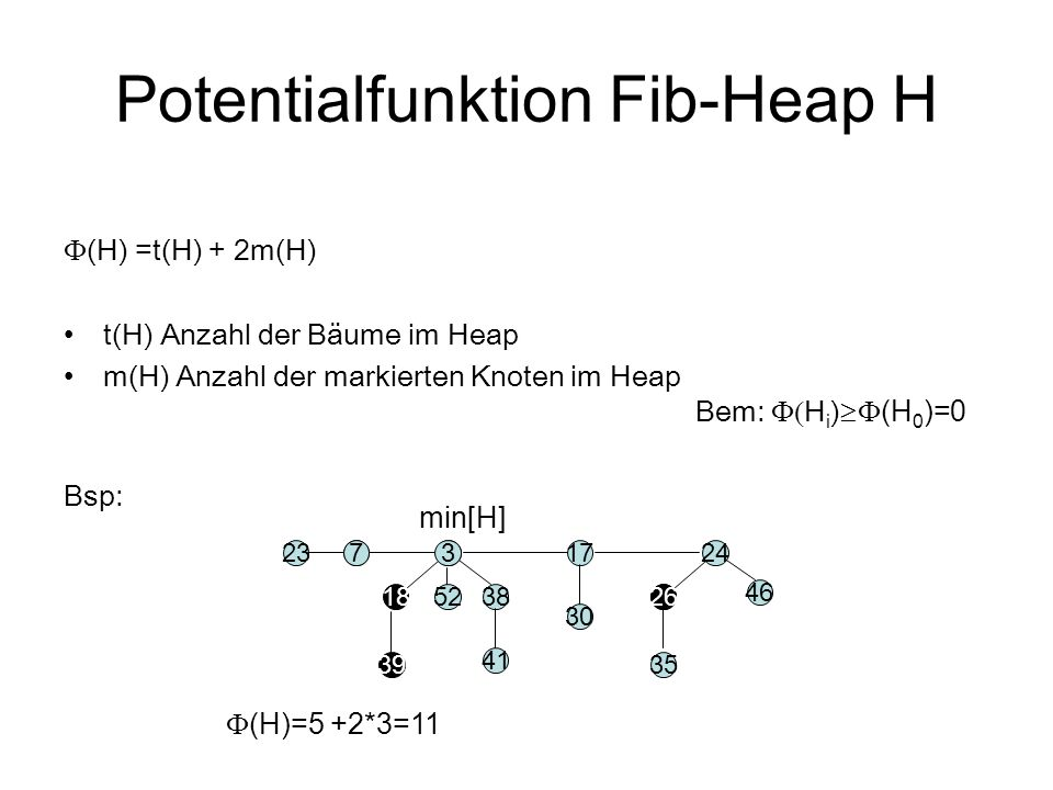 Potentialfunktion Fib-Heap H