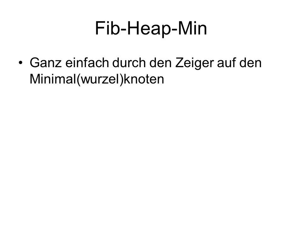 Fib-Heap-Min Ganz einfach durch den Zeiger auf den Minimal(wurzel)knoten