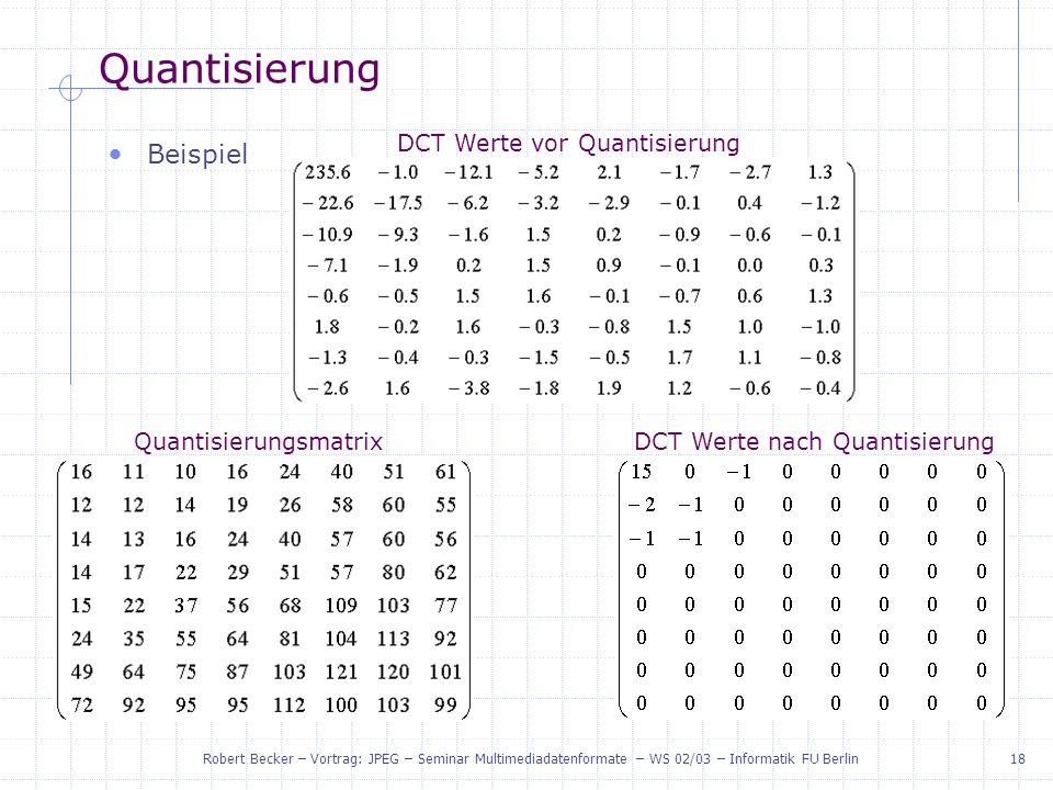 Quantisierung Beispiel DCT Werte vor Quantisierung