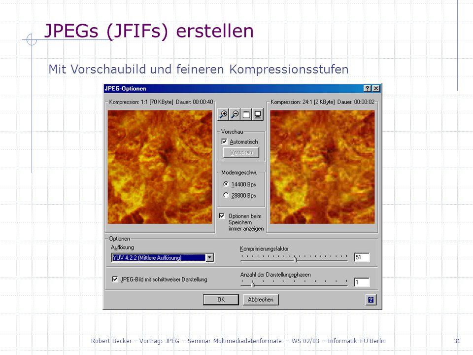 JPEGs (JFIFs) erstellen