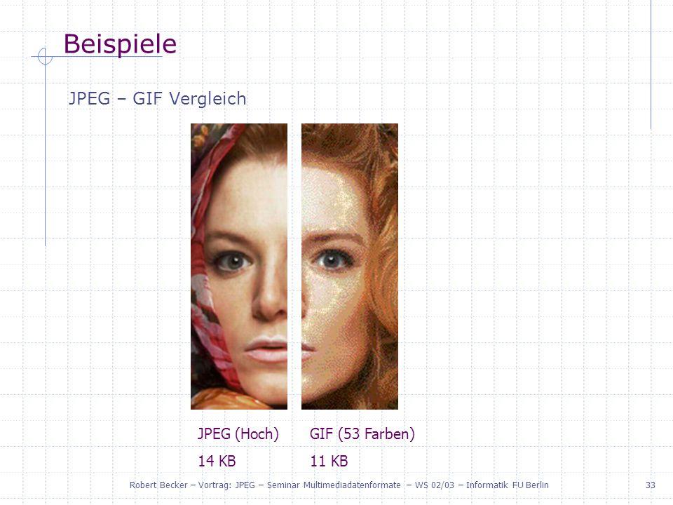 Beispiele JPEG – GIF Vergleich JPEG (Hoch) 14 KB GIF (53 Farben) 11 KB