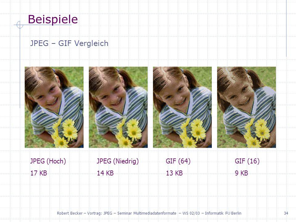 Beispiele JPEG – GIF Vergleich JPEG (Hoch) 17 KB JPEG (Niedrig) 14 KB