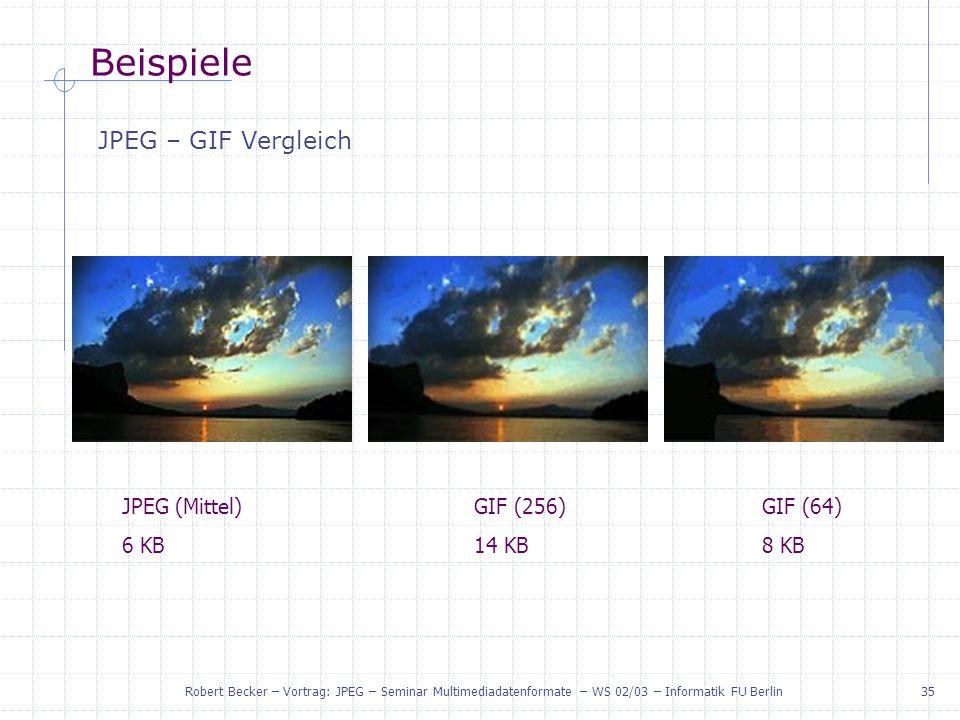 Beispiele JPEG – GIF Vergleich JPEG (Mittel) 6 KB GIF (256) 14 KB