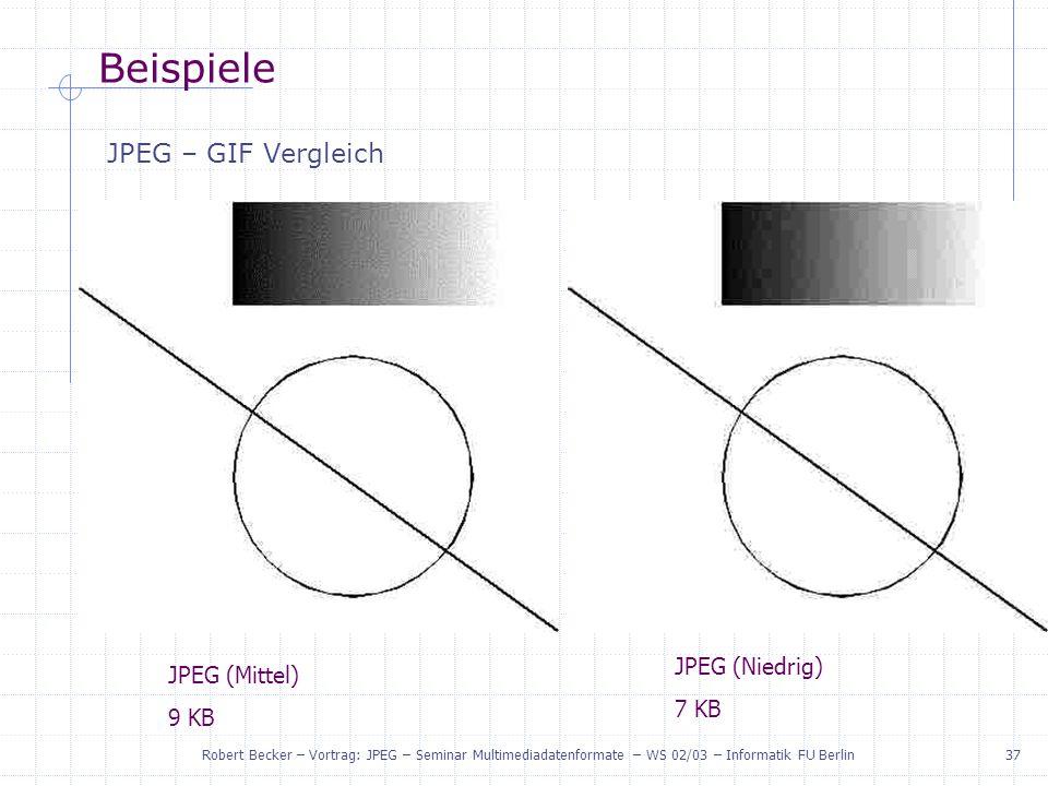Beispiele JPEG – GIF Vergleich JPEG (Niedrig) JPEG (Mittel) 7 KB 9 KB