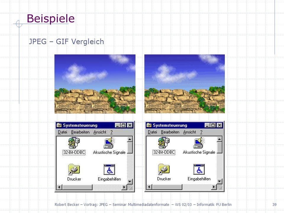 Beispiele JPEG – GIF Vergleich