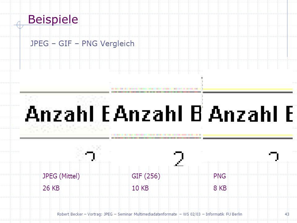 Beispiele JPEG – GIF – PNG Vergleich JPEG (Mittel) 26 KB GIF (256)