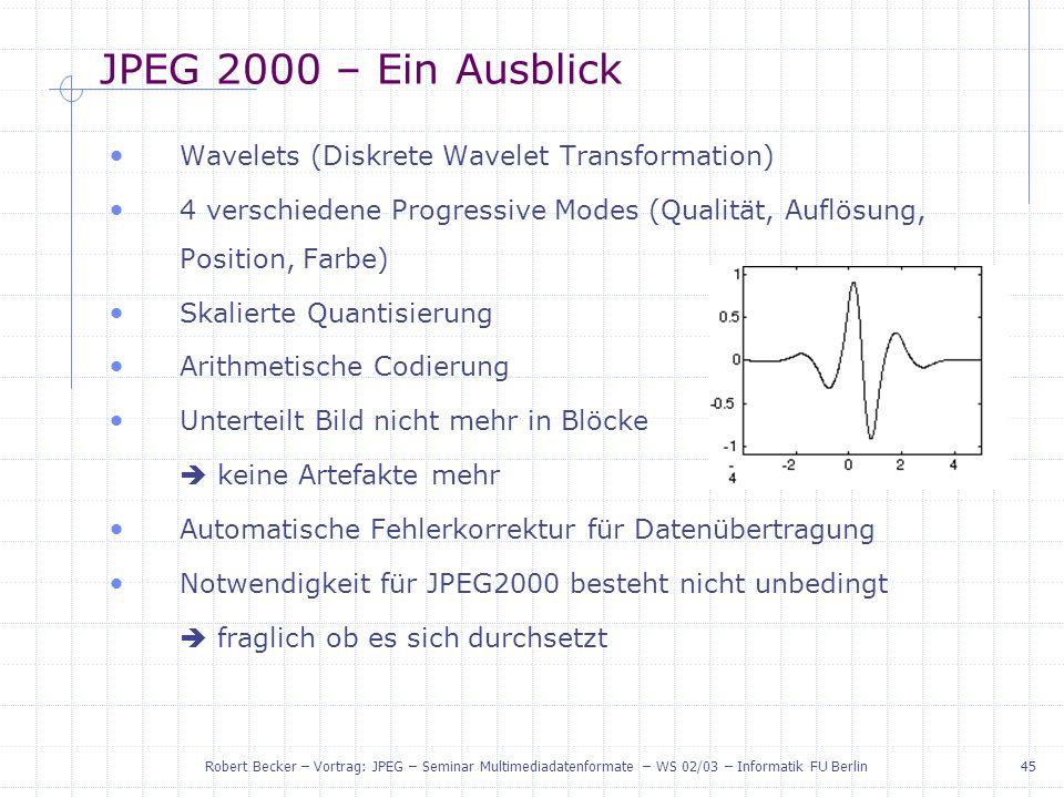 JPEG 2000 – Ein Ausblick Wavelets (Diskrete Wavelet Transformation)