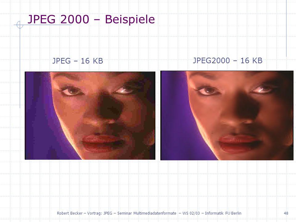 JPEG 2000 – Beispiele JPEG – 16 KB JPEG2000 – 16 KB