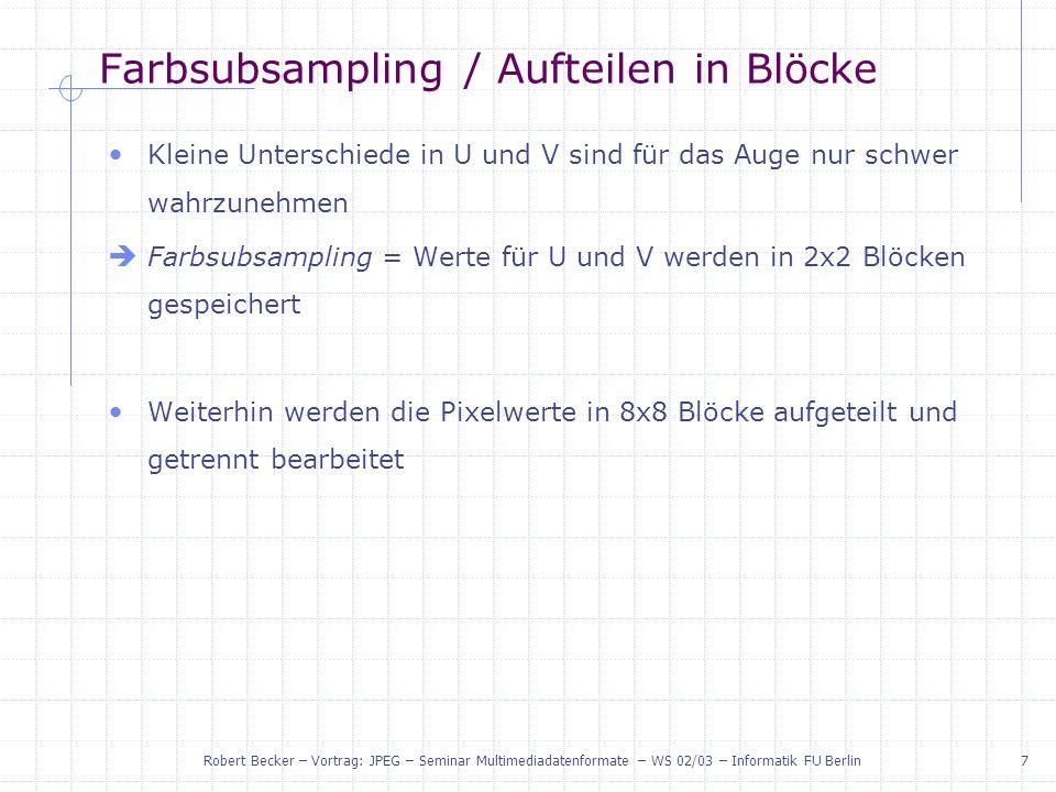 Farbsubsampling / Aufteilen in Blöcke
