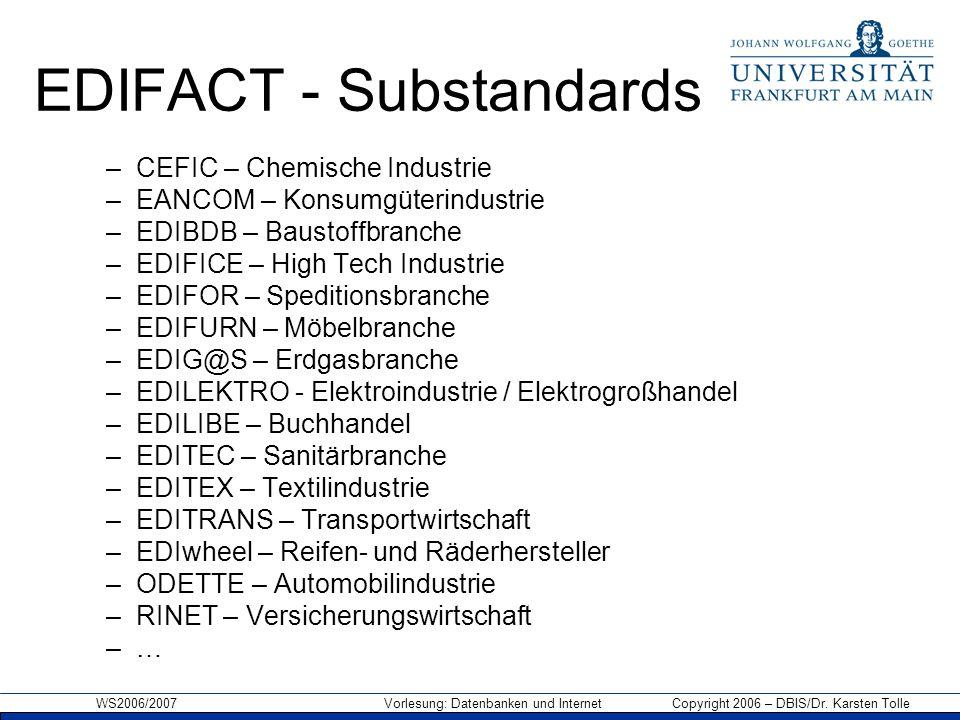 EDIFACT - Substandards