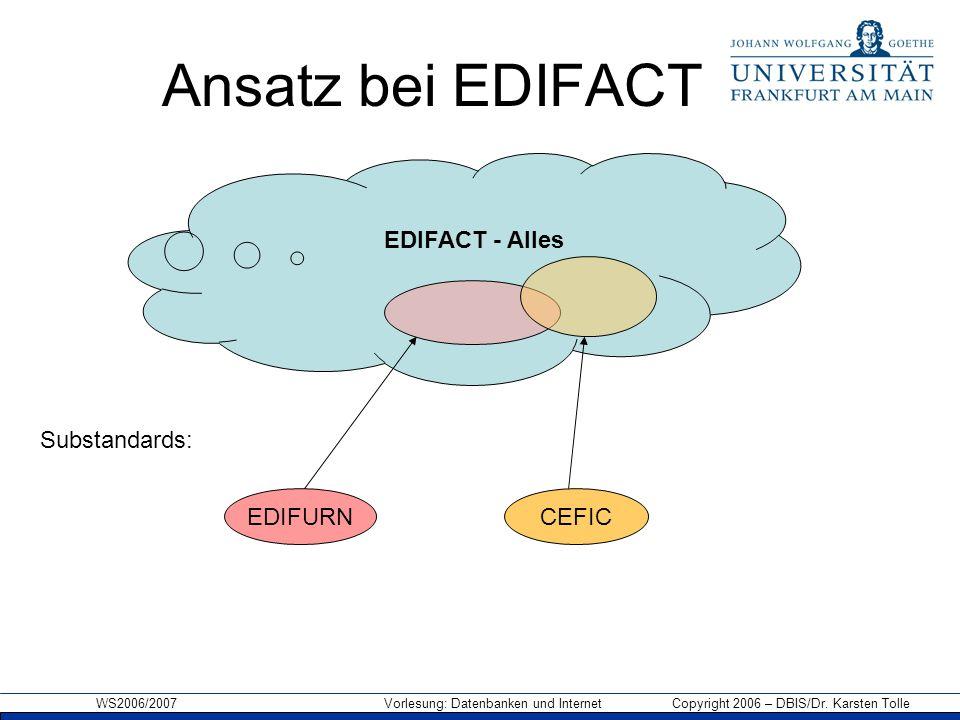 Ansatz bei EDIFACT EDIFACT - Alles Substandards: EDIFURN CEFIC
