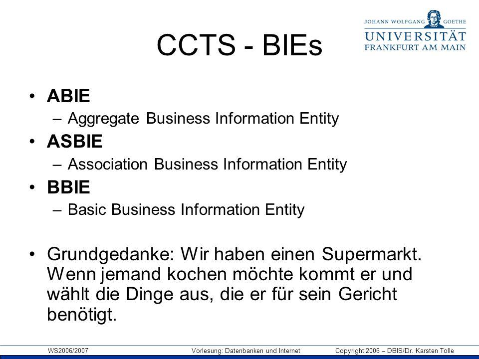 CCTS - BIEs ABIE ASBIE BBIE