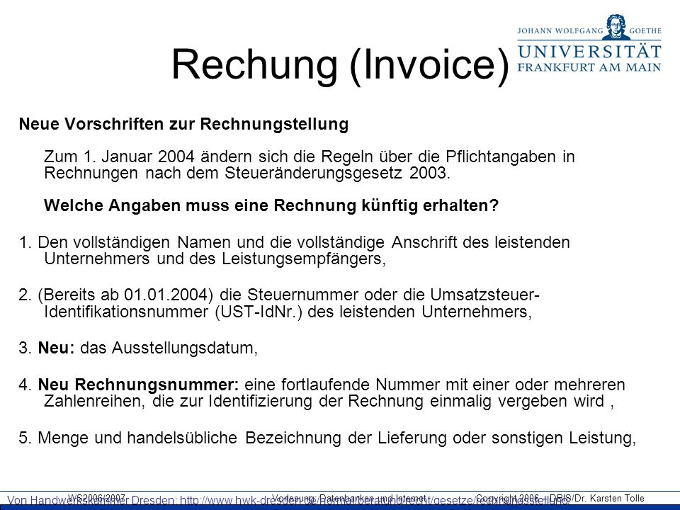 Rechung (Invoice)