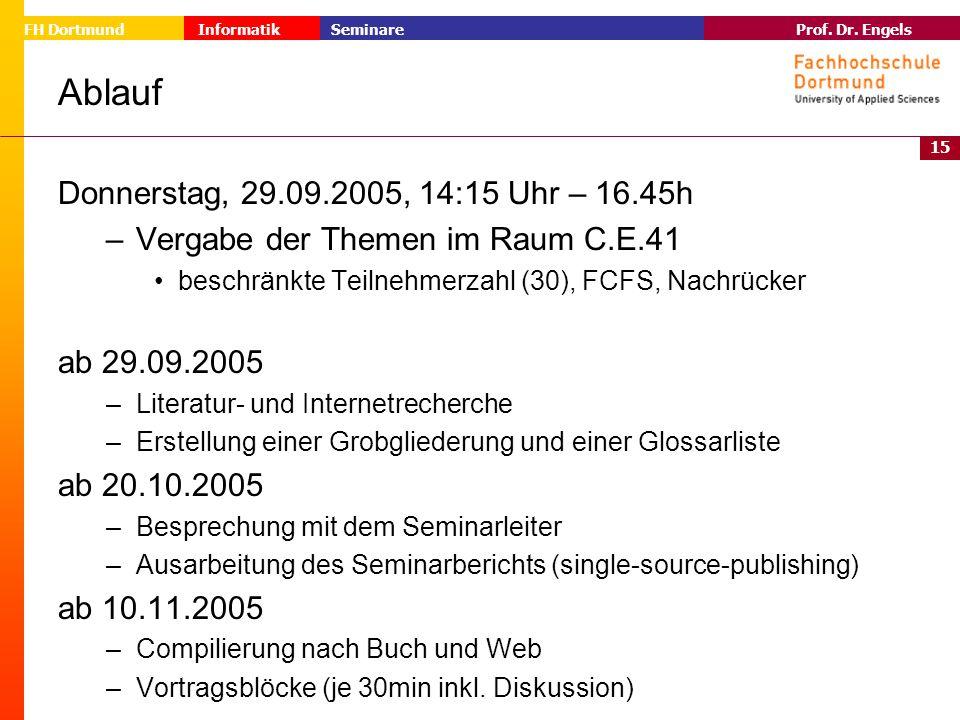 Ablauf Donnerstag, 29.09.2005, 14:15 Uhr – 16.45h
