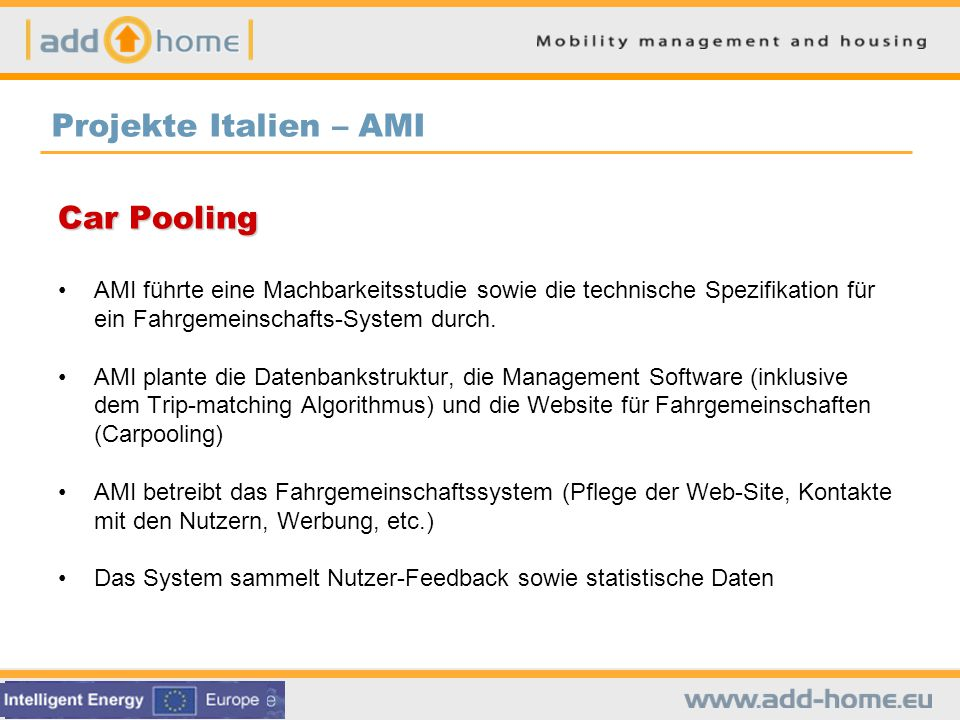 Projekte Italien – AMI Car Pooling