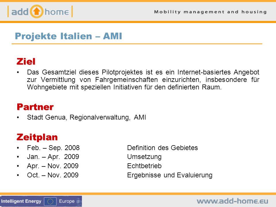 Projekte Italien – AMI Ziel Partner Zeitplan