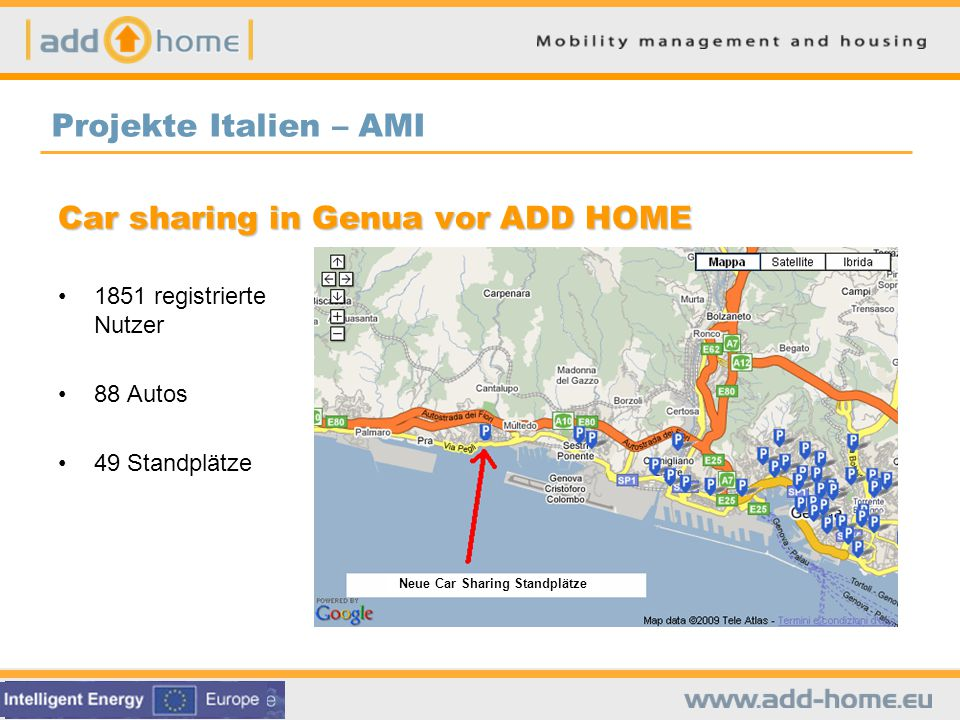 Car sharing in Genua vor ADD HOME