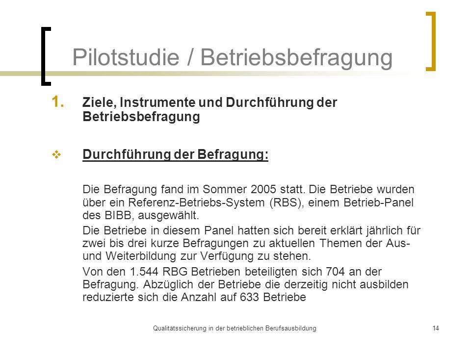Pilotstudie / Betriebsbefragung