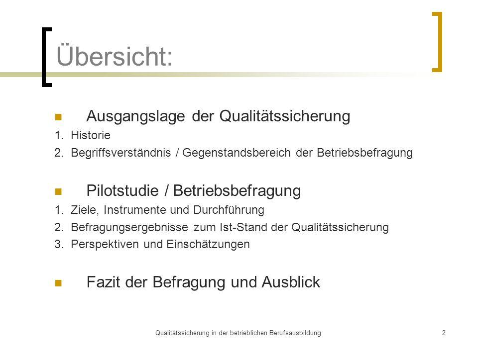 Qualitätssicherung in der betrieblichen Berufsausbildung