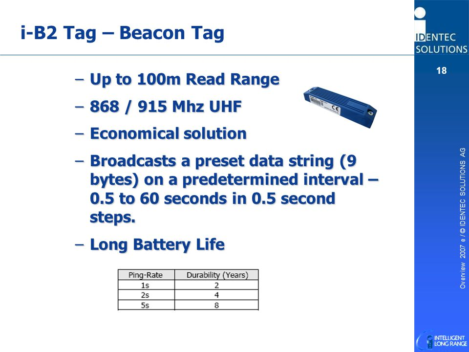 i-B2 Tag – Beacon Tag Up to 100m Read Range 868 / 915 Mhz UHF