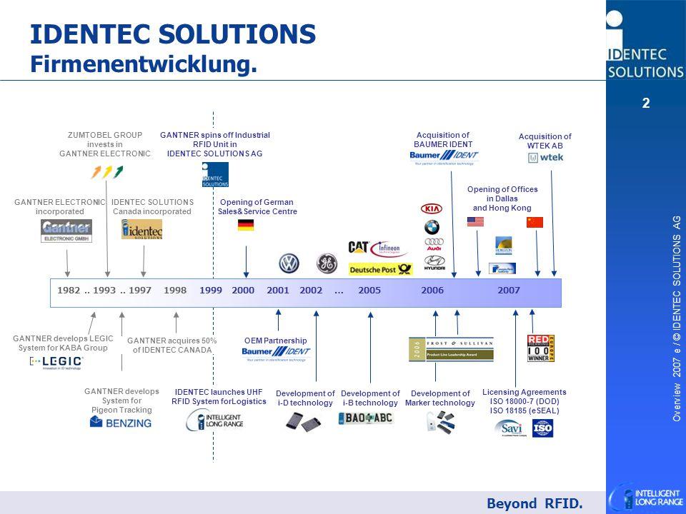 IDENTEC SOLUTIONS Firmenentwicklung.