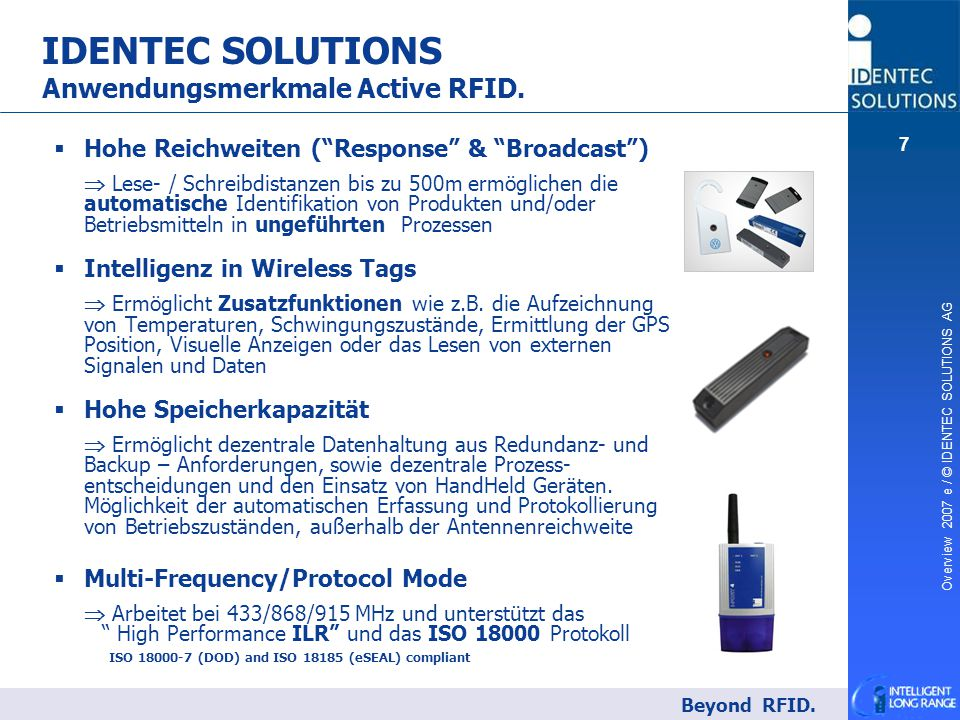 IDENTEC SOLUTIONS Anwendungsmerkmale Active RFID.