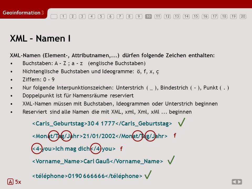 10 XML – Namen I. XML-Namen (Element-, Attributnamen,...) dürfen folgende Zeichen enthalten: Buchstaben: A – Z ; a – z (englische Buchstaben)