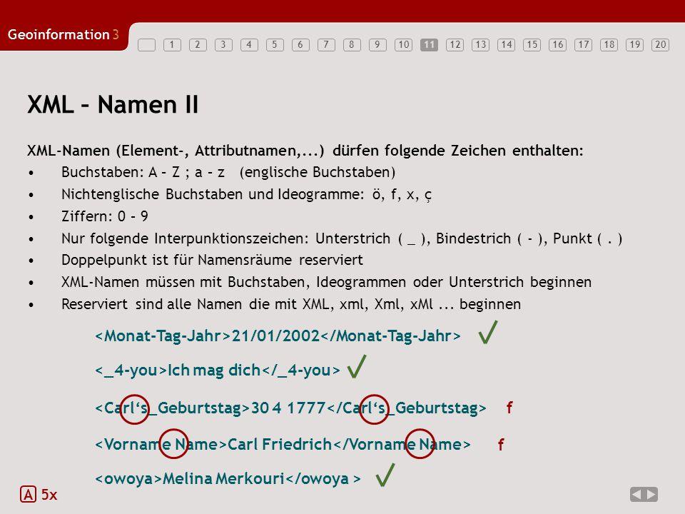 11 XML – Namen II. XML-Namen (Element-, Attributnamen,...) dürfen folgende Zeichen enthalten: Buchstaben: A – Z ; a – z (englische Buchstaben)