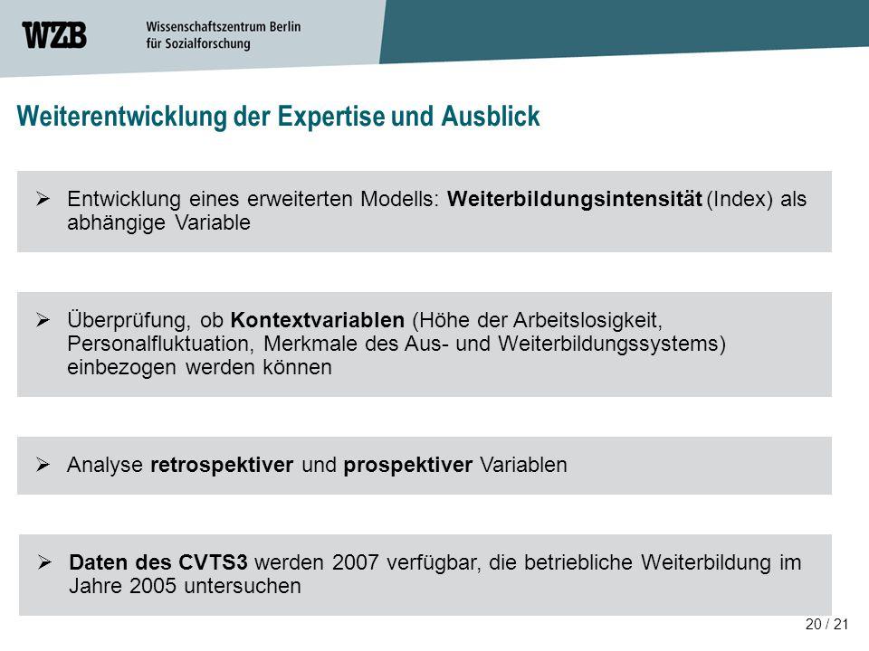 Weiterentwicklung der Expertise und Ausblick