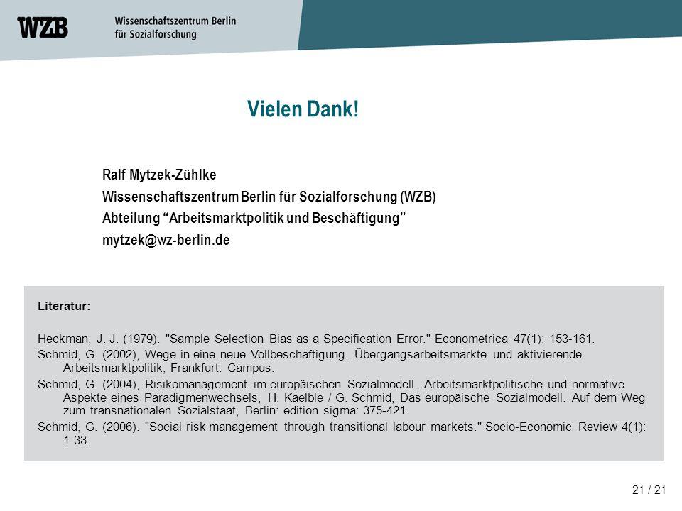 Vielen Dank! Ralf Mytzek-Zühlke