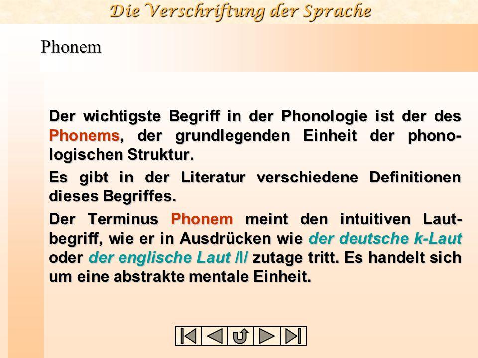 Phonem Der wichtigste Begriff in der Phonologie ist der des Phonems, der grundlegenden Einheit der phono-logischen Struktur.