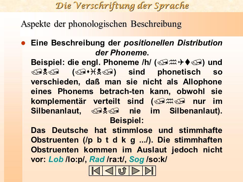 Aspekte der phonologischen Beschreibung
