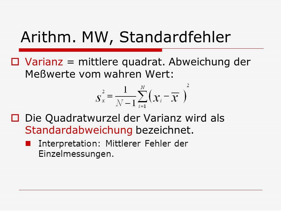 Arithm. MW, Standardfehler