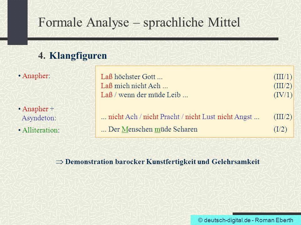Formale Analyse – sprachliche Mittel 4. Klangfiguren