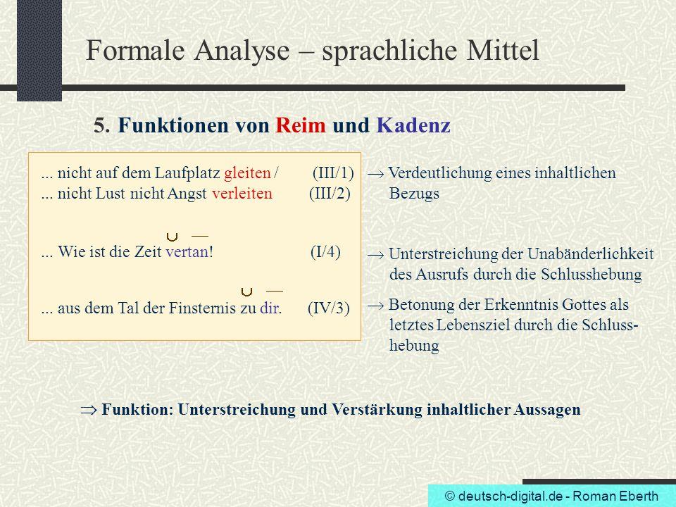 Formale Analyse – sprachliche Mittel 5. Funktionen von Reim und Kadenz
