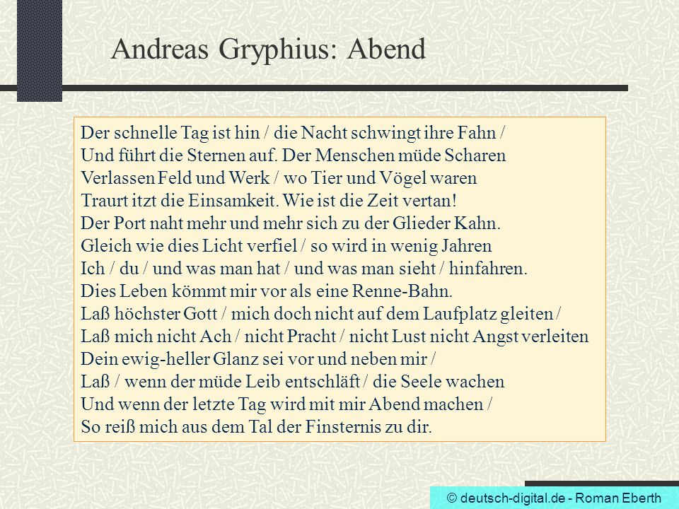 Andreas Gryphius: Abend