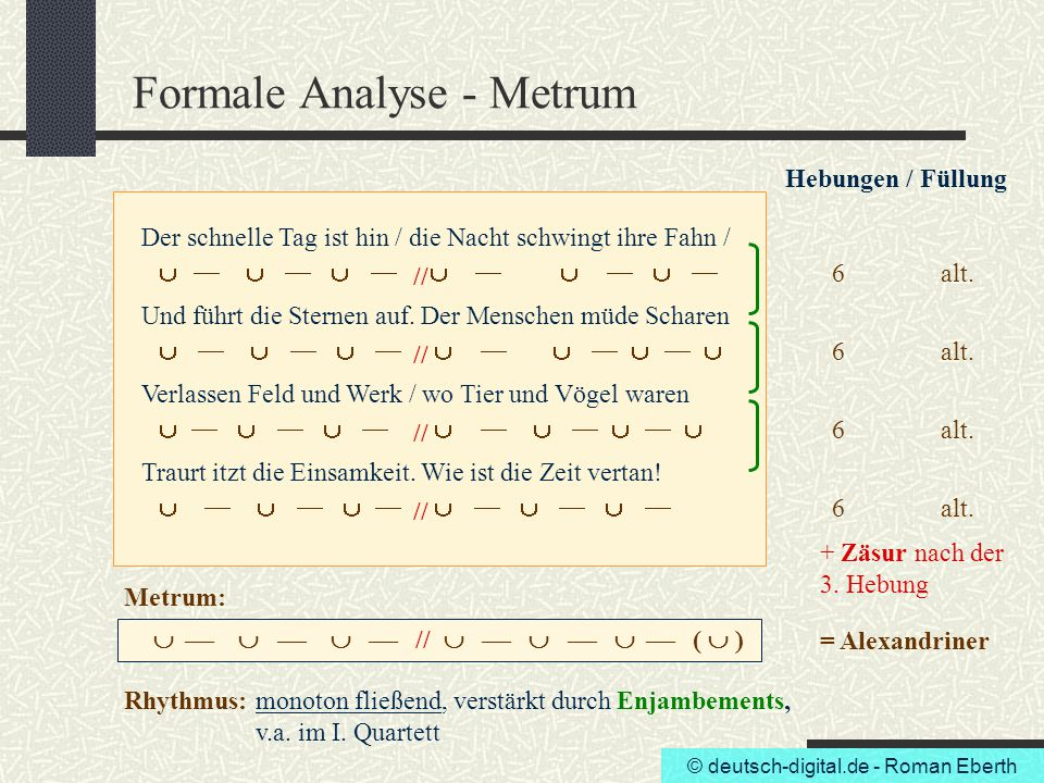 Formale Analyse - Metrum