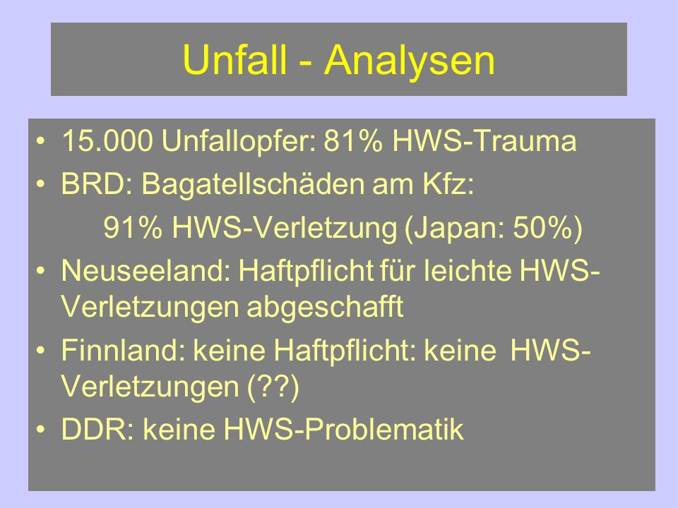 Unfall - Analysen 15.000 Unfallopfer: 81% HWS-Trauma