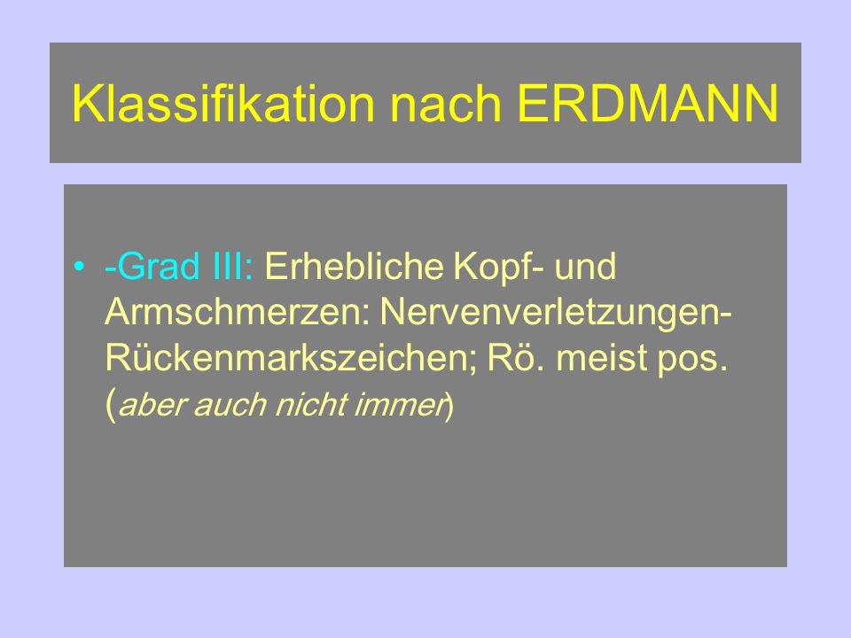 Klassifikation nach ERDMANN