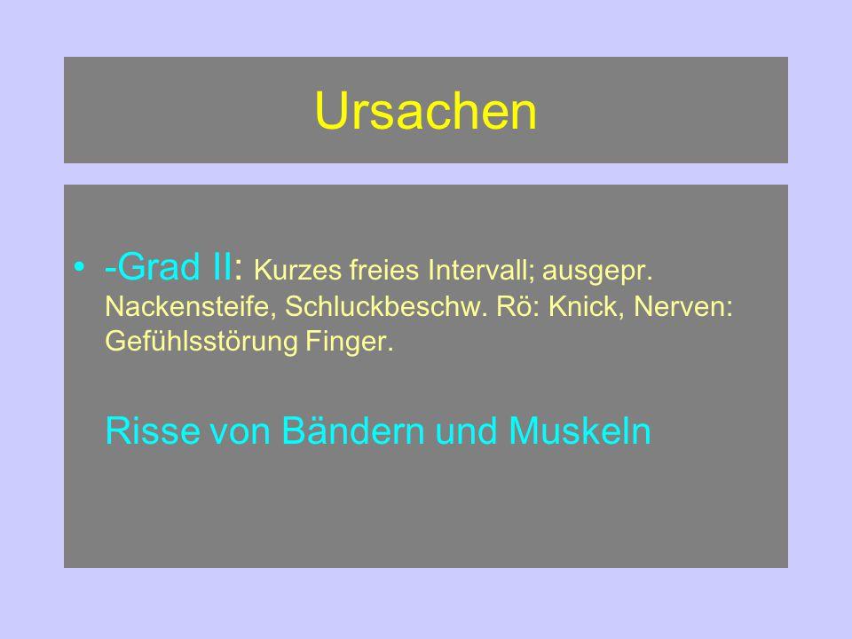 Ursachen -Grad II: Kurzes freies Intervall; ausgepr. Nackensteife, Schluckbeschw. Rö: Knick, Nerven: Gefühlsstörung Finger.