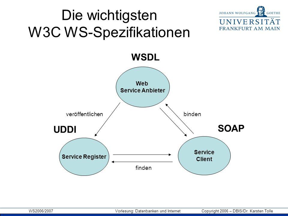 Die wichtigsten W3C WS-Spezifikationen