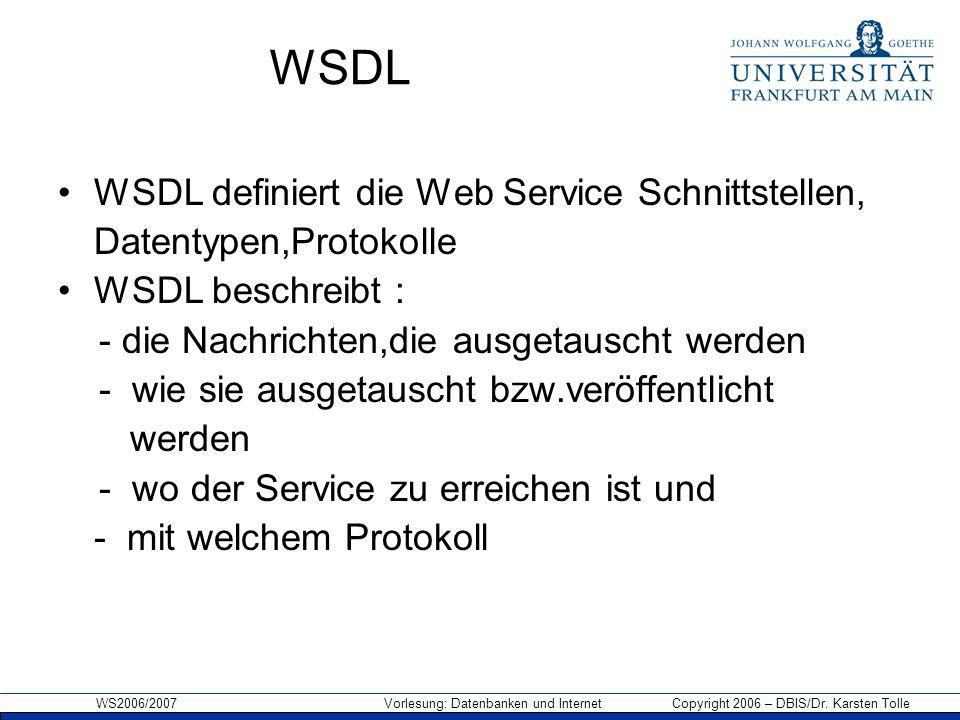 WSDL WSDL definiert die Web Service Schnittstellen,