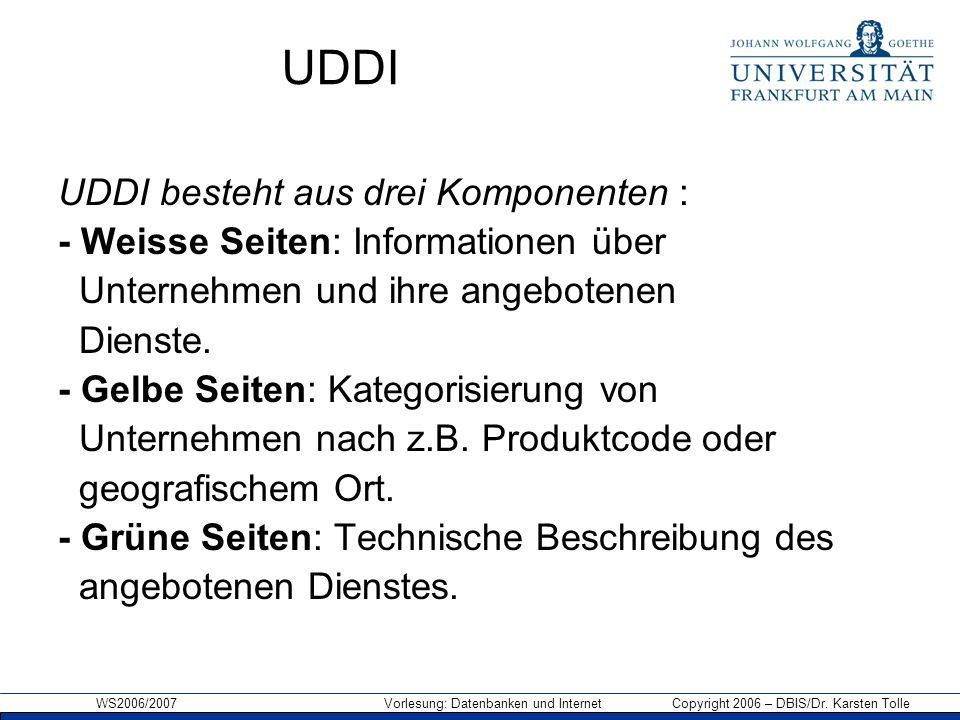 UDDI UDDI besteht aus drei Komponenten :
