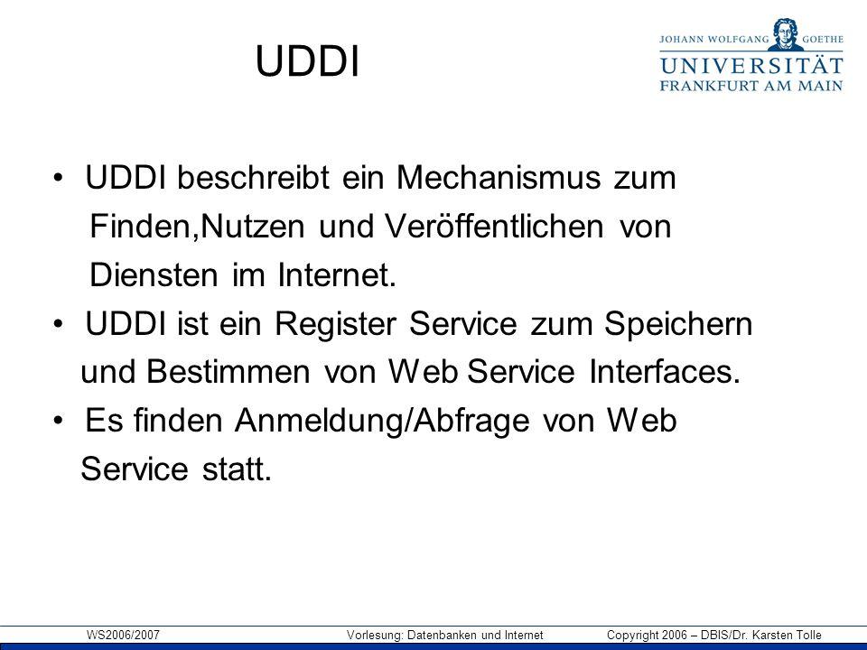 UDDI UDDI beschreibt ein Mechanismus zum